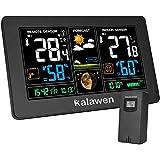 Kalawen Wetterstation mit Außensensor Innen und Außen 9-IN-1 Funkwetterstation mit Farbdisplay Digital Thermometer Hygrometer Regenmesser und Uhrzeit Anzeige für Zuhause Büro Hausgarten