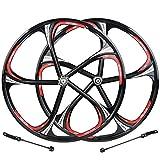 HYHD Rennrad Felgen 6-Loch-Radsatz Mit Radnabenscheibe Aus Magnesium-Aluminium-Legierung Felgen MTB 26C,Black
