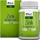 Zink | 365 Zinktabletten im Jahresvorrat | 25mg bioverfügbares Zink-Bisglycinat (Zink-Chelat) | Hochdosierte und vegane Zink-Tabletten ohne Zusatzstoffe | Laborgeprüft | Hergestellt in Deutschland von Nu U Nutrition