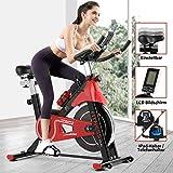 Fitnessclub Indoor Heimtrainer Radfahren Spin Bike mit Riemengetriebenem Schwungrad Radfahren Verstellbarer Lenker Sitzwiderstand Digitaler Monitor Herzfrequenzsensoren Telefonhalter Flasche Rot