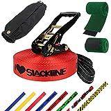 ALPIDEX Slackline 25 m 3 Tonnen + 2 x Baumschutz + Ratschenschutz, Farbe:I Love Slackline. rot
