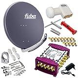 Fuba 8 Teilnehmer Digital SAT Anlage 85cm Schüssel DAA850A Anthrazit + Opticum LNB LRP-04H 0,1dB Full HDTV 4K + PMSE Multischalter 5/8 + Montage- und Aufdreh-Set + 24 Vergoldete F-Stecker Gratis dazu