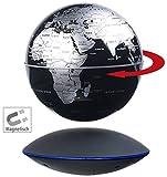 infactory Weltkugel: Freischwebender Globus mit beleuchteter Magnet-Schwebebasis, Ø 14 cm (Schwebende Kugel)