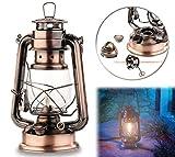 Lunartec Petroleumlampe Petroleum-Sturmlaterne mit Glaskolben, Bronze, 24 cm (Petrollampe)
