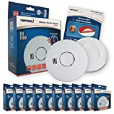 10x Nemaxx HW-2 Funkrauchmelder Rauchmelder Hitzemelder mit kombiniertem Rauch- und Thermosensor nach DIN EN 14604 + 10x NX1 Quickfix Befestigungspad