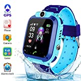 Kinder Smartwatch für Kinder mit Telefonfunktion, SIM, Wasserdicht, Handy Touchscreen, kinderuhr Spiel, Kamera Voice Chat Telefon SOS vtech GPS smart Watch GPS smartwatch Kinder Uhr Kinder (Blau)