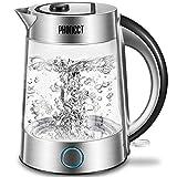 Glas Wasserkocher, PHONECT Wasserkocher 1.7L Glaswasserkocher mit Filterauslauf, BPA-Frei Boro-Silikatglas Wasserkocher, 2200W Blaue LED-Anzeige mit Kalkfilter