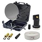 PremiumX HD Camping-Sat-Anlage im Koffer Schüssel mit Digital Single LNB 0,1dB inkl. 10m Koaxial Kabel und 2X F-Stecker mit Dichtring HDTV