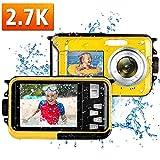 wasserdichte Kamera Unterwasserkamera Full HD 2.7K 48MP Unterwasser Kamera zum Schnorcheln 16X Digital Zoom Unterwasserkamera Digital Wasserdicht Selfie Dual Screen
